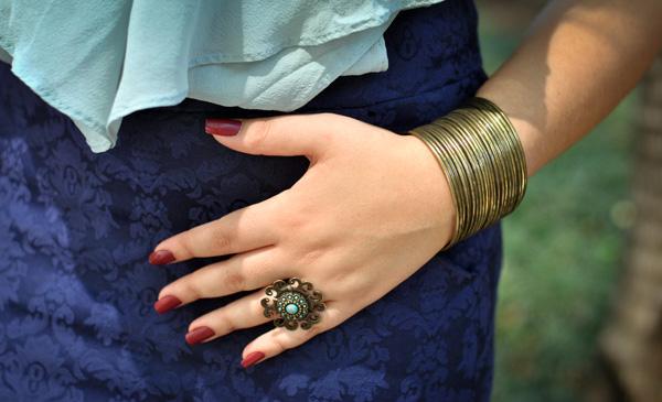 Look - acessórios - anel e pulseira com banho ouro velho