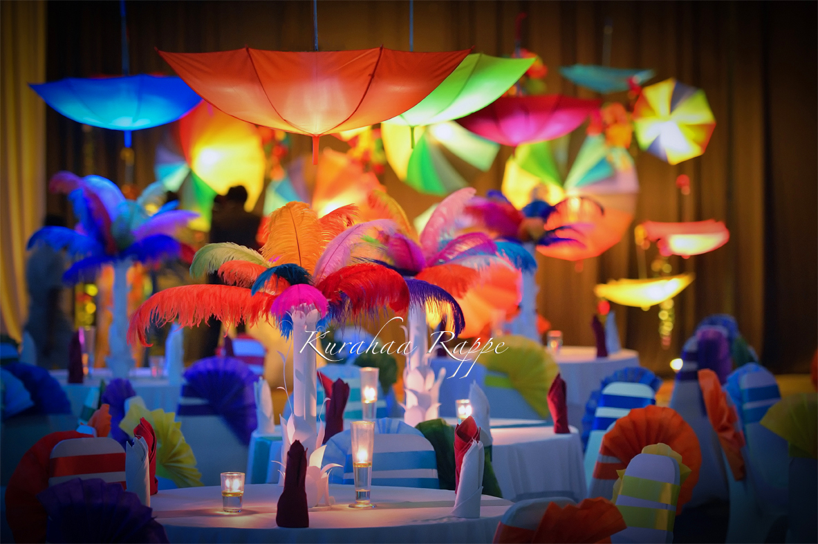Kurahaa rappe umbrellas wedding backdrop and decoration for 15 aug decoration