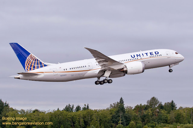 United Airlines first Boeing 787 Dreamliner N20904 departs for Houston