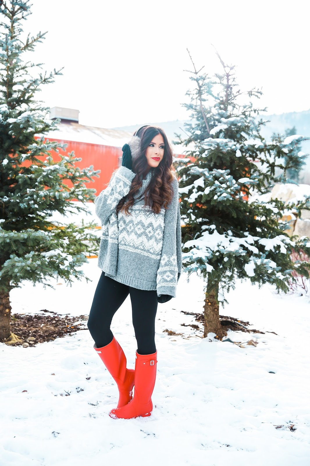 winter fashion pinterest, cute winter outfits in snow pinterest, fashion winter outfit idea, red hunter boots, red matte hunter boots, zella leggings review, free people grey oversized sweater, fuzzy earmuffs, parkhurst mittens, emily gemma, the sweetest thing blog, what to wear for a snow day, park city utah, winter fashion