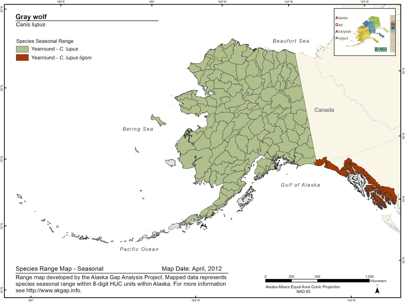 Range of the Grey Wolf and its subspecies in Alaska