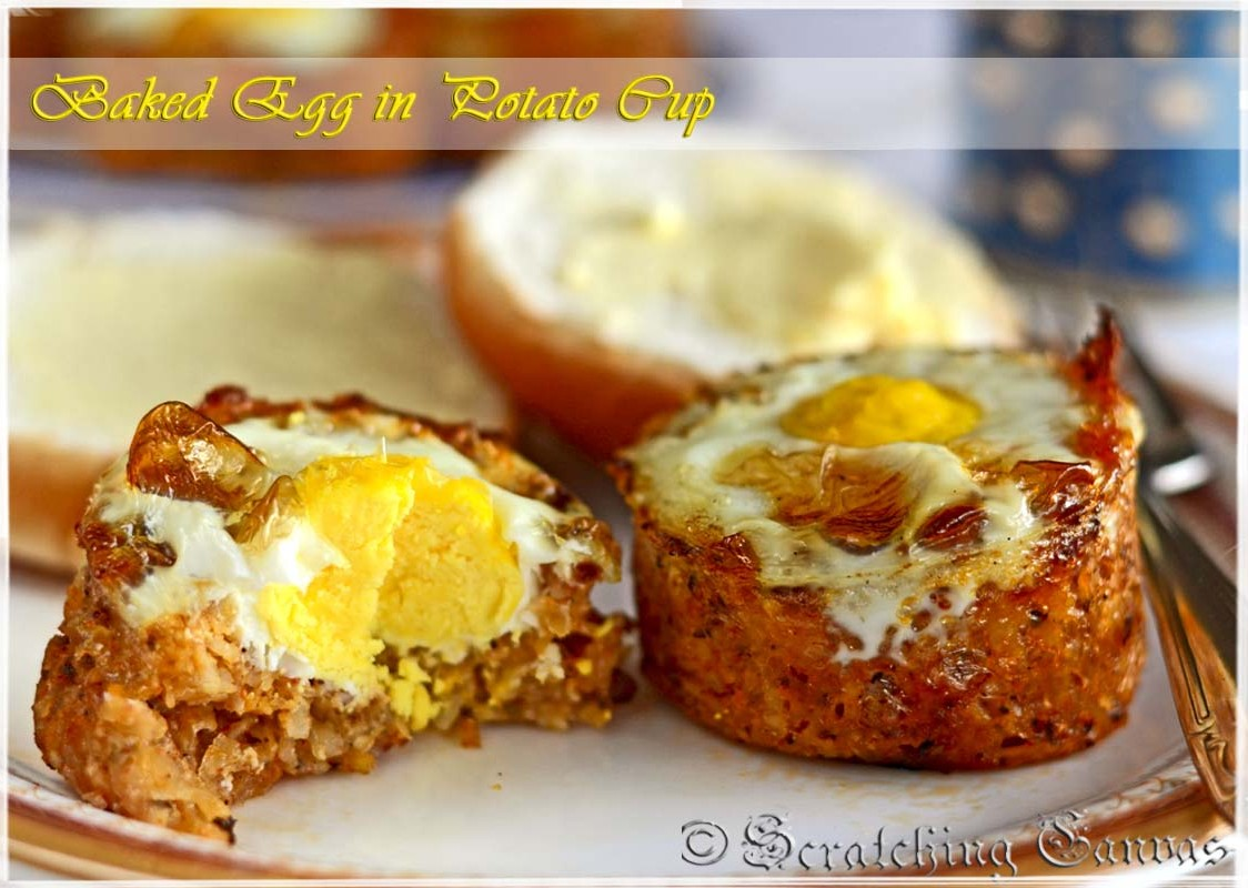 ... Breakfast with Baked Egg in Cheesy Potato Cup | Scratching Canvas