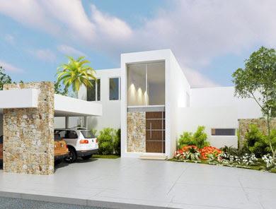 Fachadas de casas modernas elegante casa moderna con for Casas minimalistas modernas con cochera subterranea