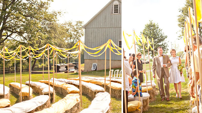 Outdoor Hay Bales Seating with Ribbons Photo by Love Me Do Photography via