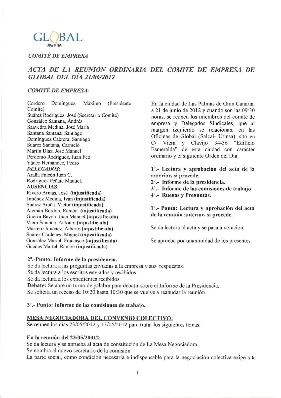 Comité de Empresa Global (Salcai-Utinsa): julio 2012