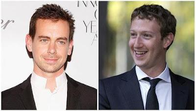 Twitter creator Jack Dorsey and Facebook co-founder Mark Zuckerberg