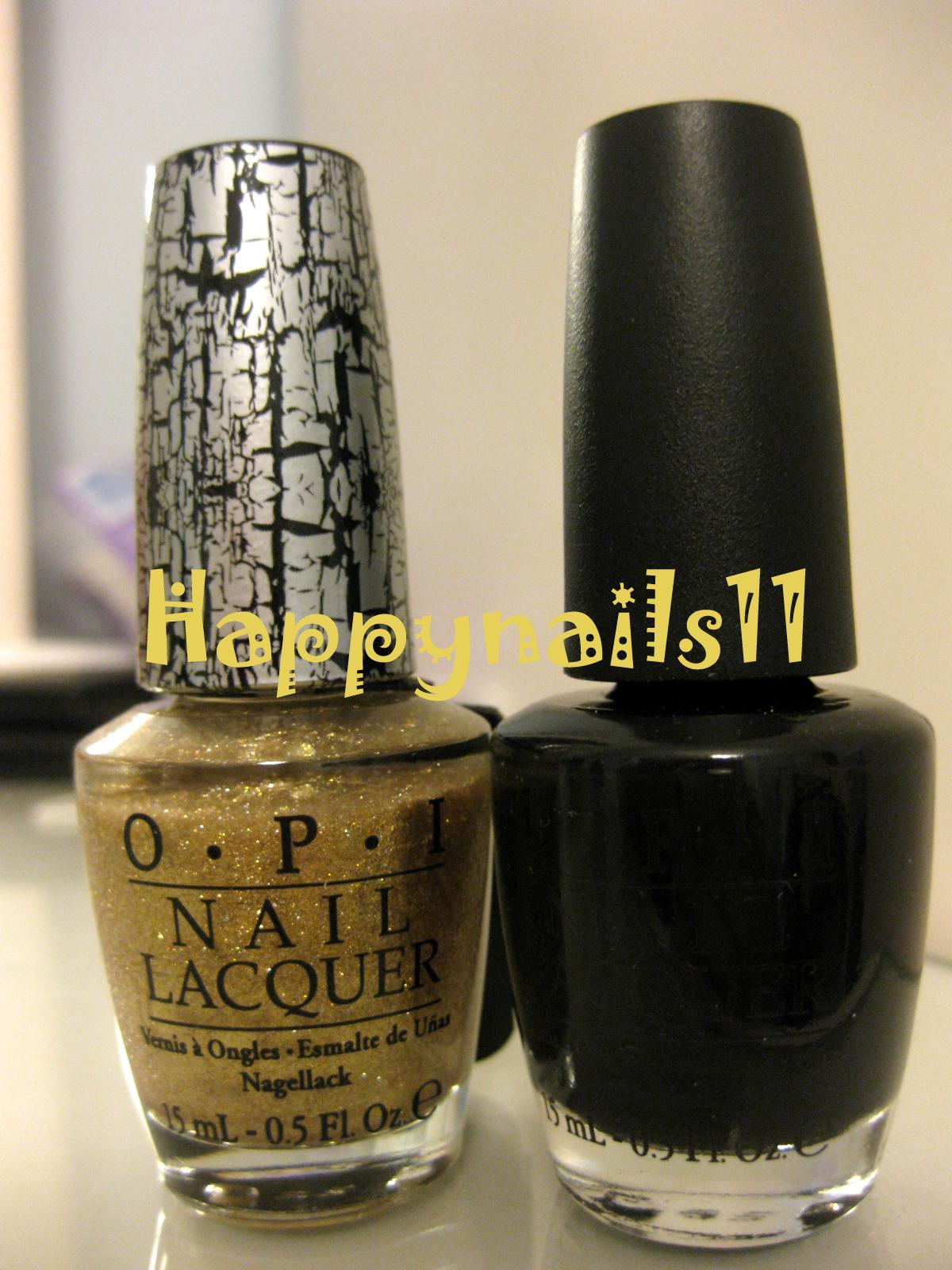 happynails  opi gold shatter nail polish nl e60 and onyx nl t02