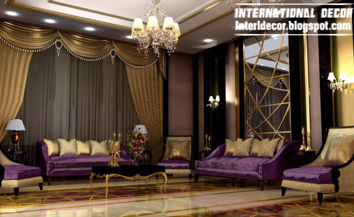 International Living Room Ideas With Luxury Purple Furniture 2015