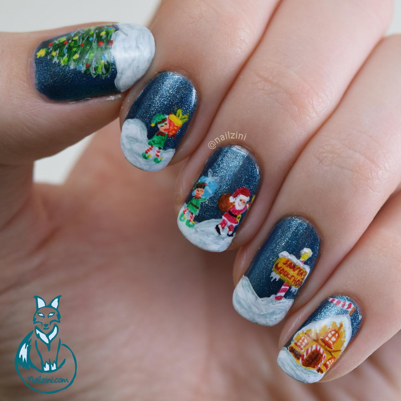 Santa's Workshop Christmas Nail art