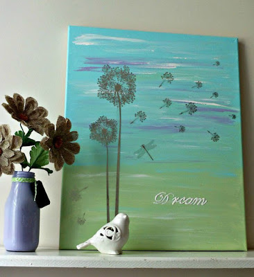 Vintage, Paint and more... diy painted canvas for a dorm room