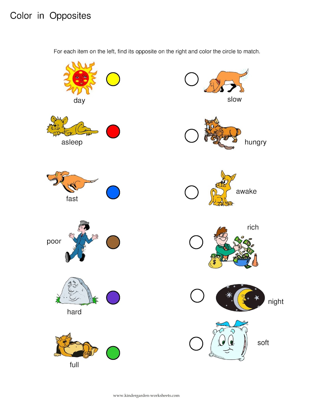 Kindergarten Worksheets: Kindergarten Worksheets- Opposite ...