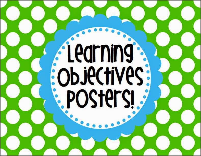 http://www.teacherspayteachers.com/Product/Learning-Objectives-Posters-chevron-and-polka-dots-sets-275753