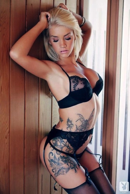 sexy blonde tattoo inked lingerie