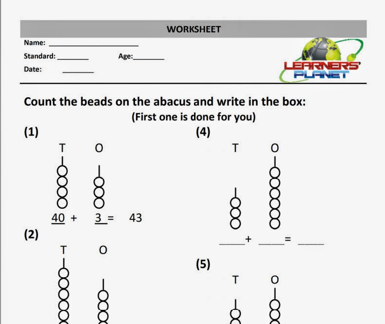 Maths Addition Worksheet abacus practice sheet grade 1 Learners – Addition Worksheets for Grade 4