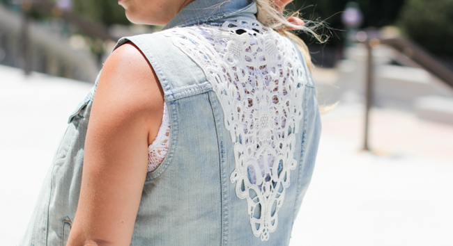 denim vest lace details