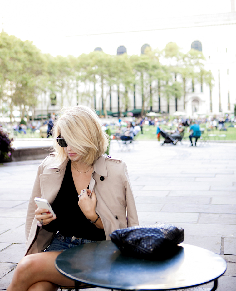 Bryant Park, New York City, Bottega Veneta bag, trench coat, InstaANN