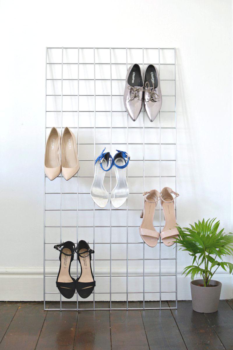 DIY grid shoe storage display | BURKATRON