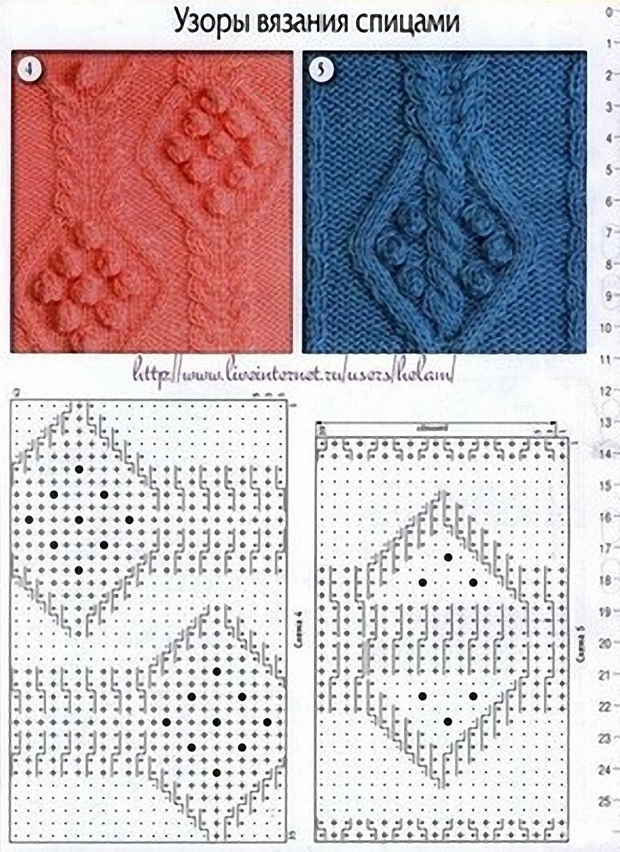 Японское вязание листиков спицами