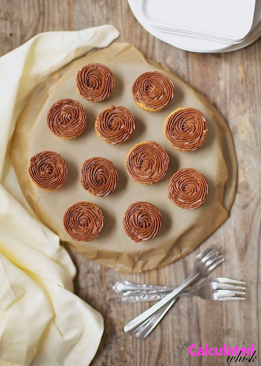 Easy Vanilla Cupcakes with Chocolate Frosting (Gluten-free, Grain-free) | acalculatedwhisk.com