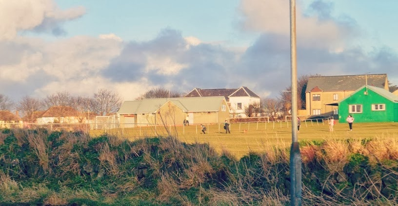 Kids playing in field sunshine hakin pembrokeshire wales