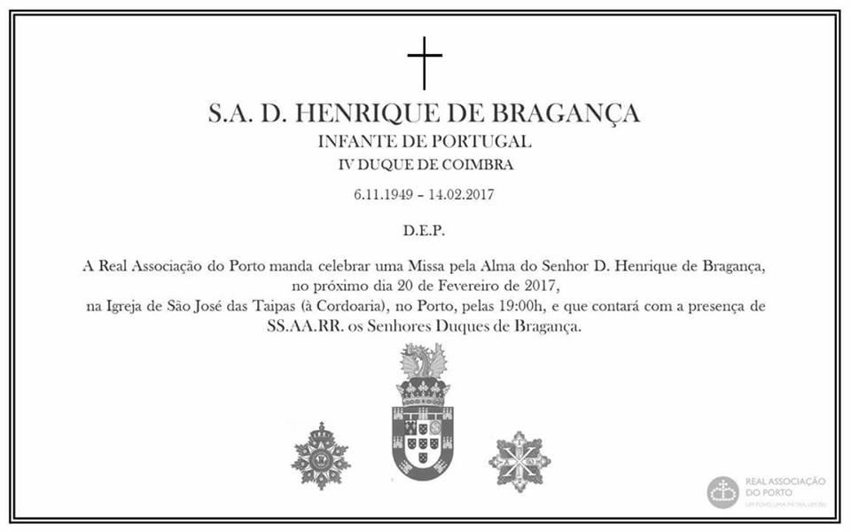 MISSAS POR ALMA DE SUA ALTEZA O SENHOR DOM HENRIQUE, DUQUE DE COIMBRA