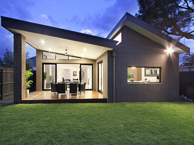 Picture of small contemporary home as seen from the backyard