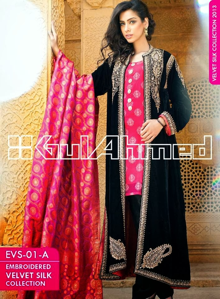 GulAhmedEmbroideredSilkVelvetCoats wwwfashionhuntworldblogspotcom 003 - Gul Ahmed Embroidered Silk Velvet Coats 2014