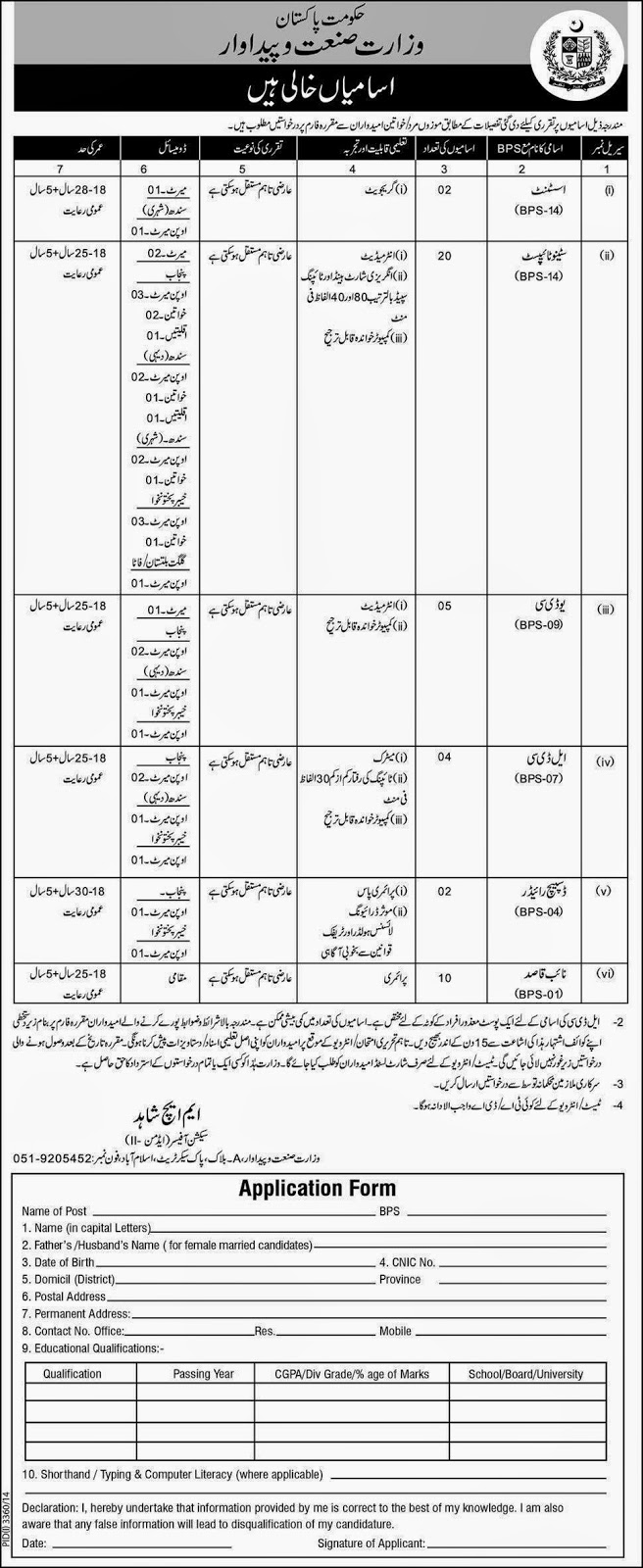 Govt Of Pakistan Jobs