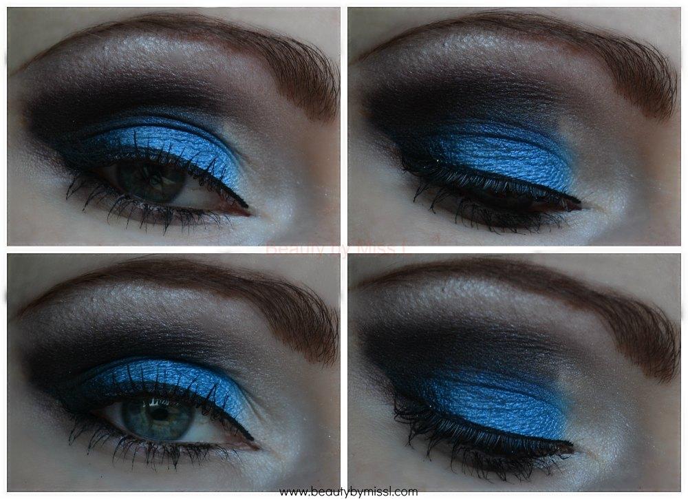 blue black white smoky eye makeup