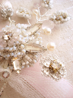 blush pink and silver lace bridal brooch