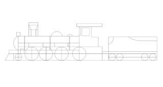 menggambar lokomotif uap