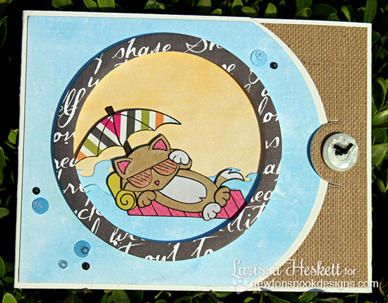 Kitty beach card by Larissa Heskett using Newton's Summer Vacation Cat Stamp set by Newton's Nook Designs