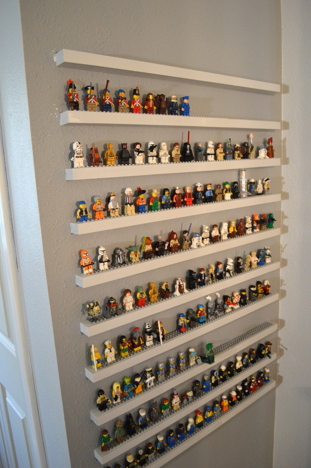 Jedi craft girl diy lego minifigure storage shelves tutorial for Diy wall storage