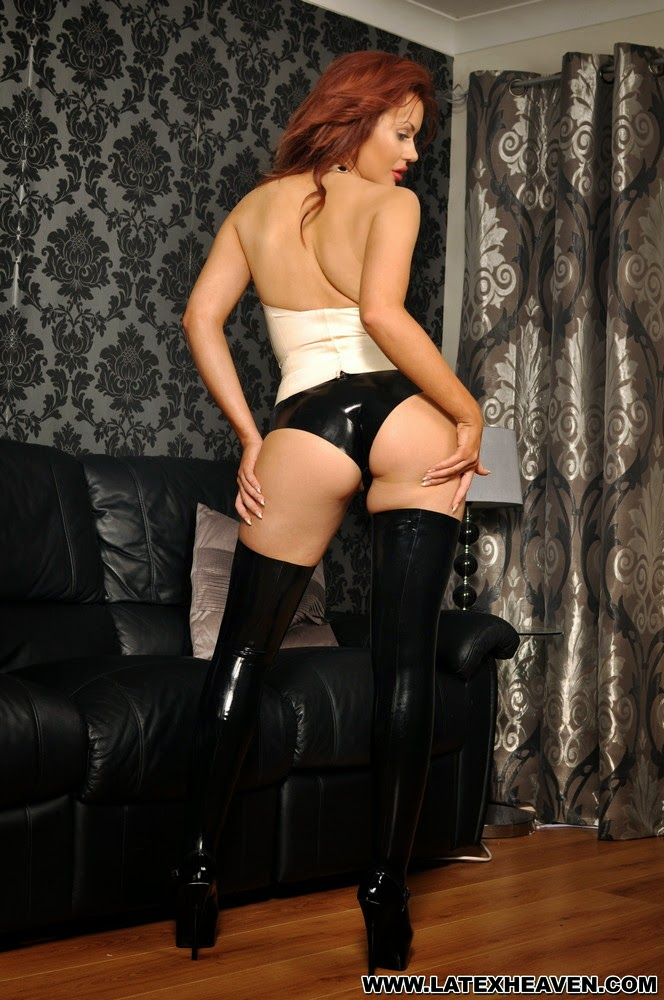 Riah Read Sexy Black and White Latex Tuxedo Suit and Black Latex Stocking Boots