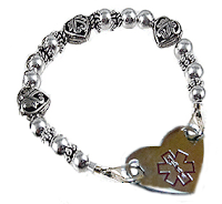Style Athletics Creative Medical ID Bracelet Allergies Heart Charms