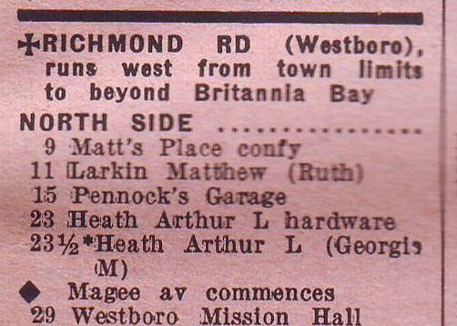 1937 Ottawa City Directory listing for Richmond Road in Westboro, showing Matt's Place at 9 Richmond.