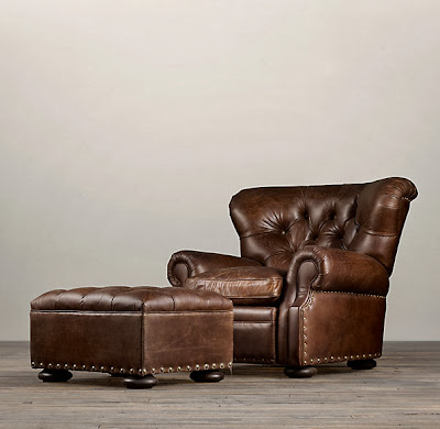 Restoration Hardware Churchill Leather Chair And Ottoman