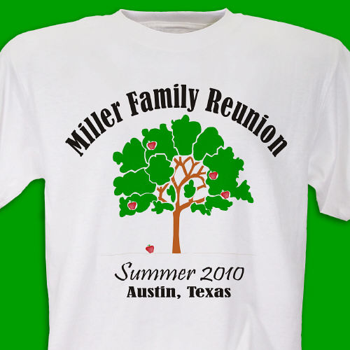 Personalized gifts apple tree family reunion tee shirt for Printed t shirts for family reunion
