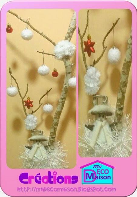 branche décorée enneigée