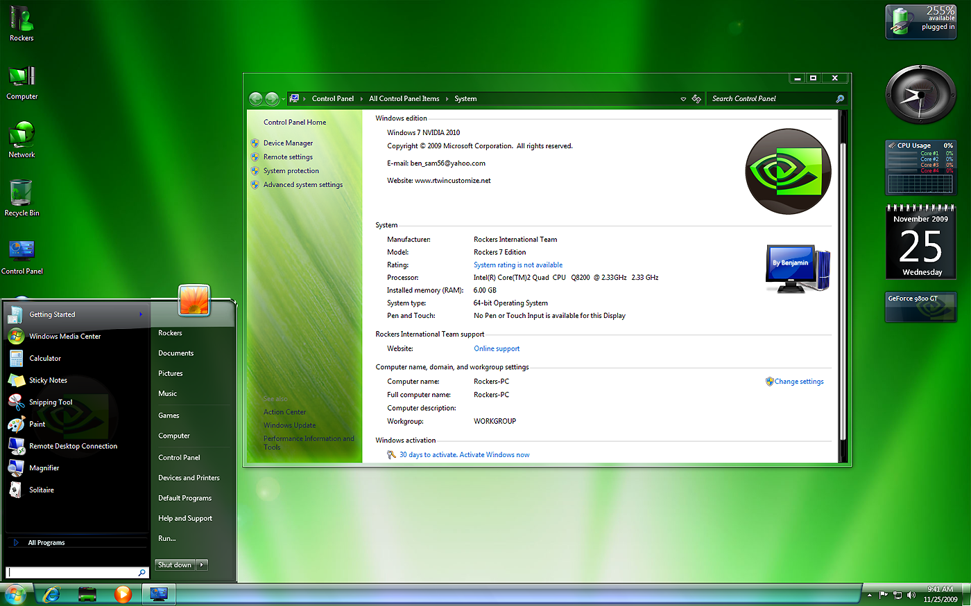 Win7 nvidia 86 and 64 bit and activators