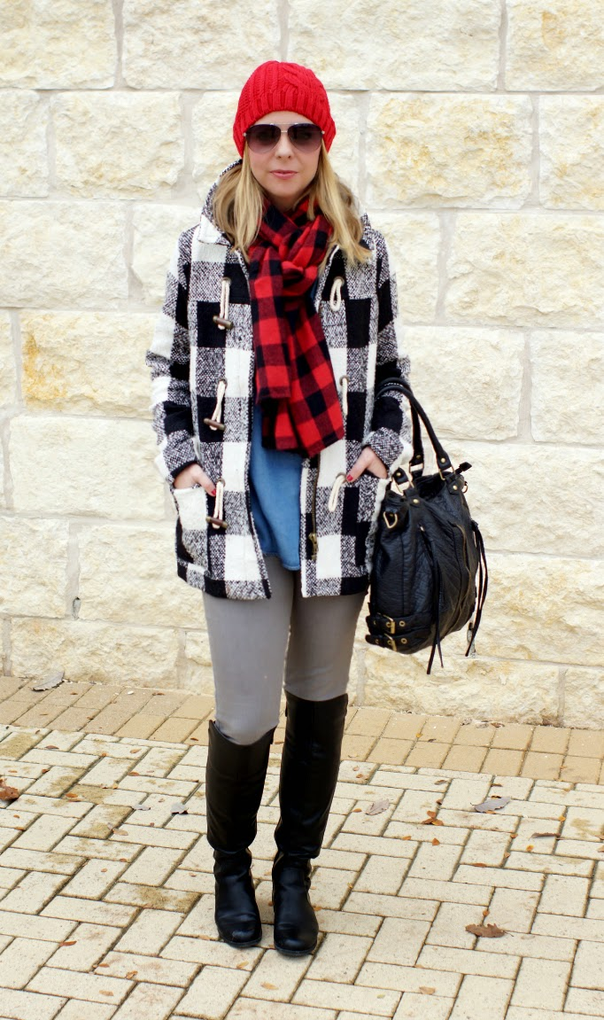 buffalo check toggle coat winter outfit ideas