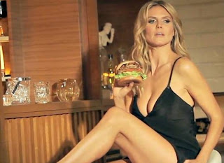 heidi klum carls jr burger commercial