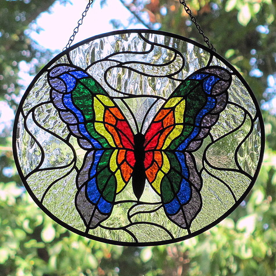 Stained Glass Art : Living glass art stained rainbow butterfly new and