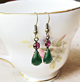image tuscany earrings jade green fuchsia pink sparkle vintage