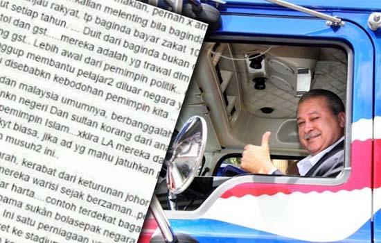 Sultan Johor Keluarkan Zakat 10 Kali Ganda Dari Harga Trak Mack