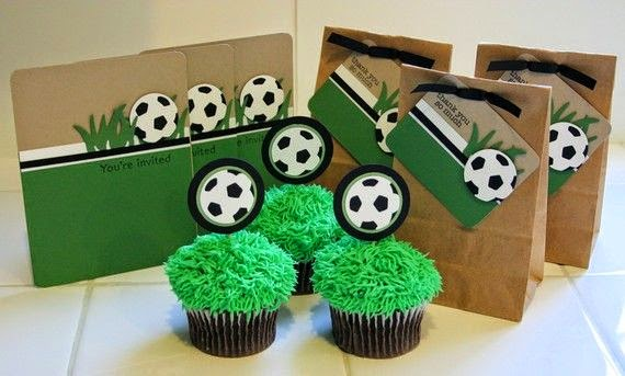 Soccer Birthday Party Invitation Cupcake Topper And Favor Bags