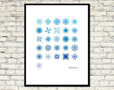 alphabet poster made with helvetica letter snowflakes
