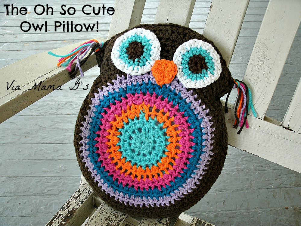 Free Crochet Owl Cushion Pillow Pattern : Mama Gs Big Crafty Blog: Free Crochet Pattern: Owl Pillow ...