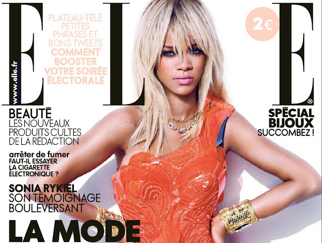 Rihanna on the cover of Elle Magazine France, April 2012 Issue