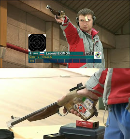 Photo: Leonid Ekimov and his new TOZ-35 free pistol.